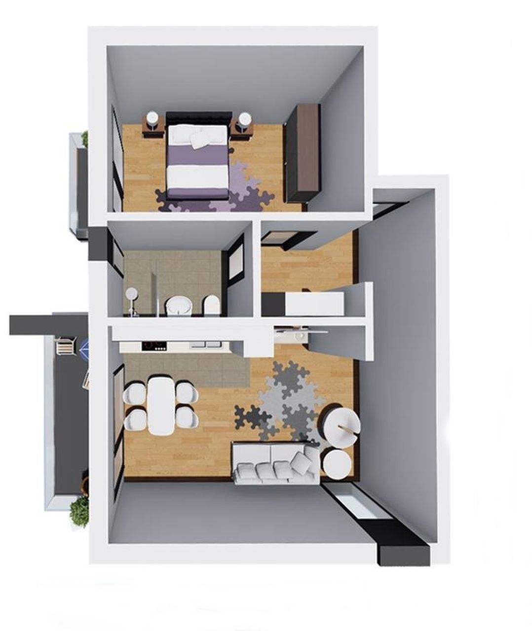 apartament tip 2, 54 mp + 7mp balcon, preț 45.000 EUR + TVA