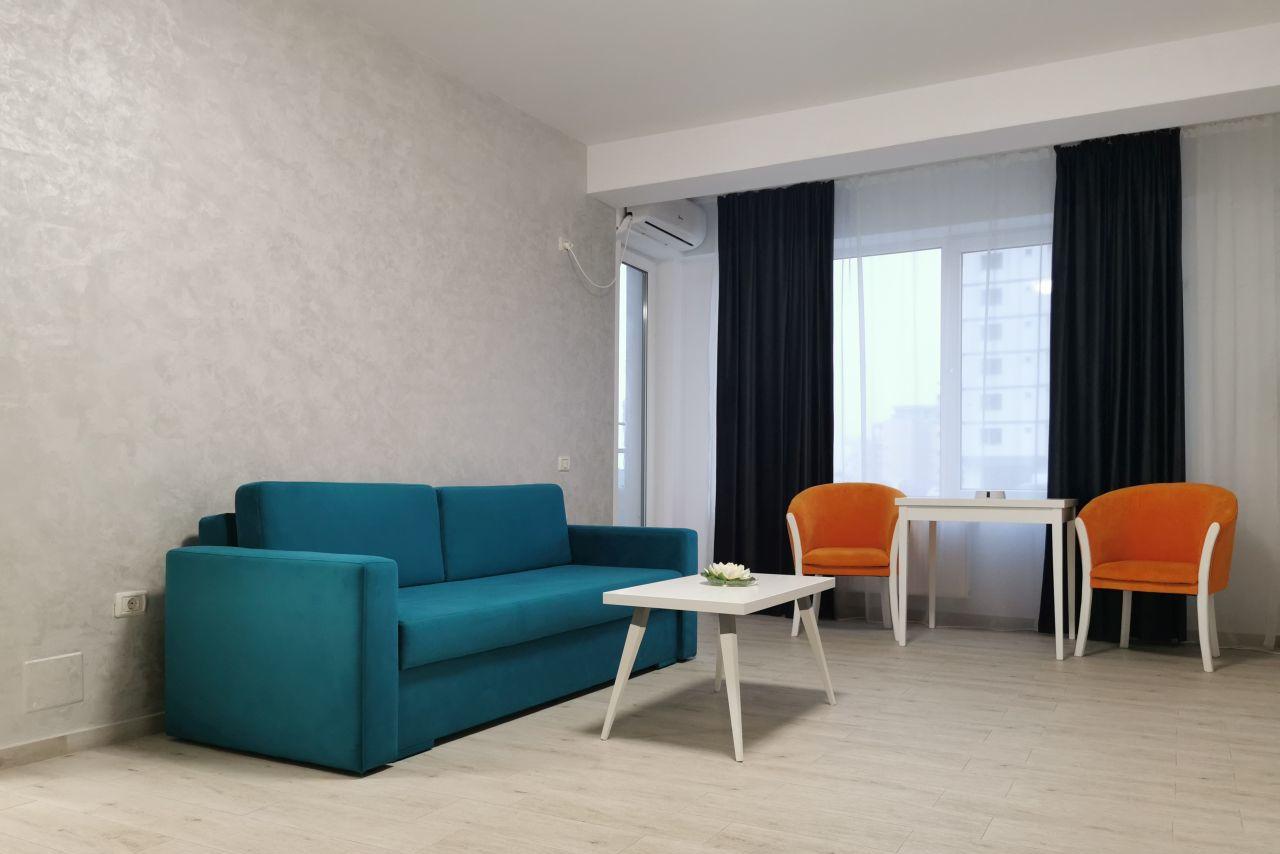 Apartament mobilat și utilat, în complex rezidențial privat lângă plajă